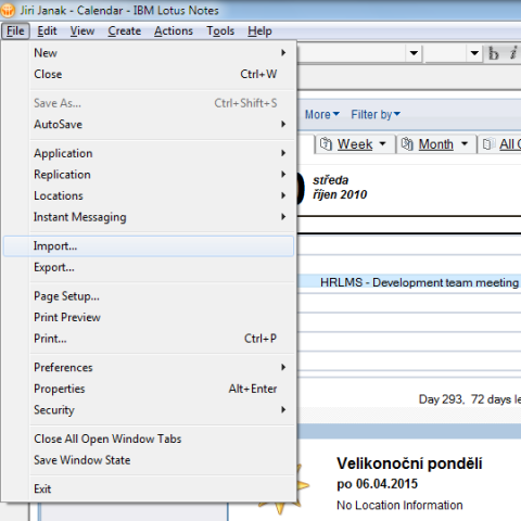 Lotus Notes: Calendar->File->Import