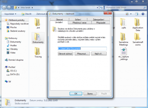 Move Documents folder back to its default location
