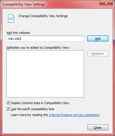 IE11 Compatibility Mode settings