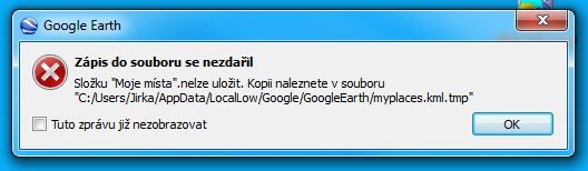Google Earth Error - myplaces.kml file could not be written down, writing to myplaces.kml.tmp instead.